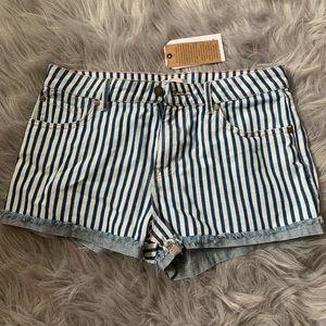 Roxy Striped Jean Shorts